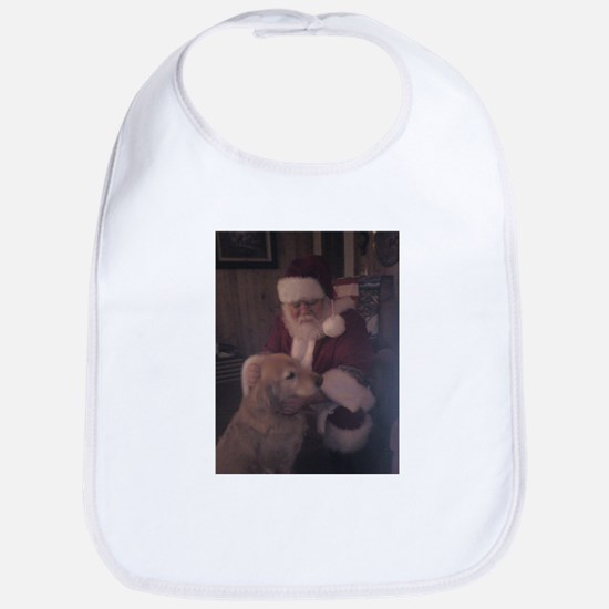Santa with Hooper the Golden Retriever Bib