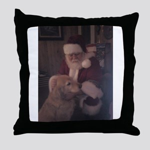 Santa with Hooper the Golden Retriever Throw Pillo