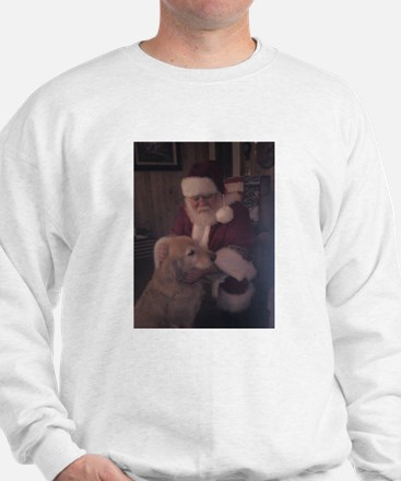 Santa with Hooper the Golden Retriever Sweatshirt