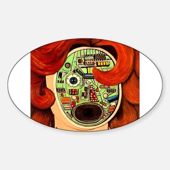 Female Robot Sticker (Oval)