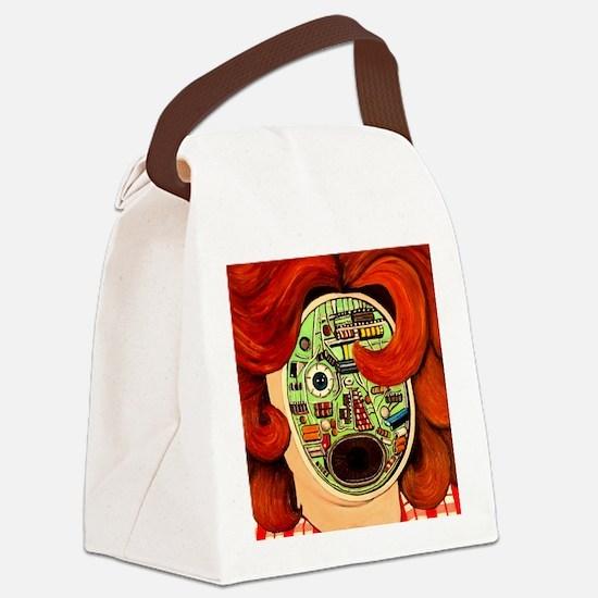 Female Robot Canvas Lunch Bag