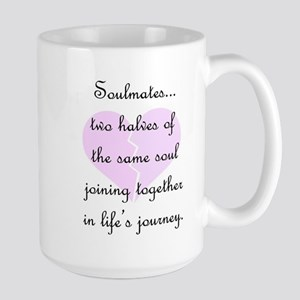 Soulmates (faded heart design) Large Mug