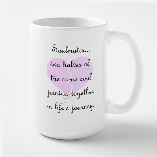 Soulmates (faded heart design) Large Mug
