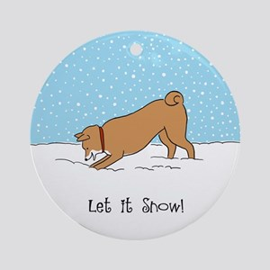 Shiba Inu Let it Snow Ornament (Round)