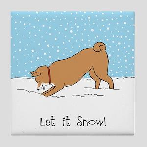 Shiba Inu Let it Snow Tile Coaster