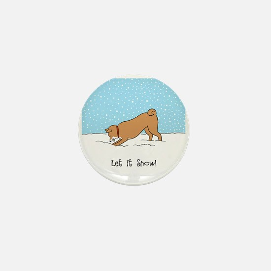 Shiba Inu Let it Snow Mini Button