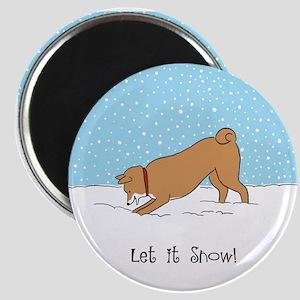 Shiba Inu Let it Snow Magnet