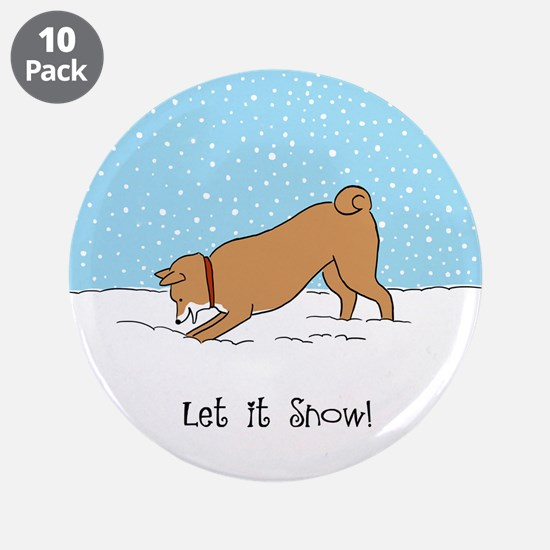 "Shiba Inu Let it Snow 3.5"" Button (10 pack)"
