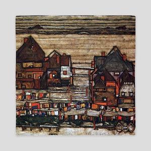 Egon Schiele Houses with laundry lines Queen Duvet