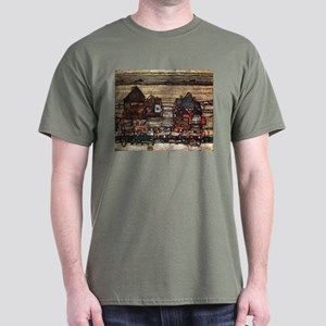 Egon Schiele Houses with laundry lines Dark T-Shir