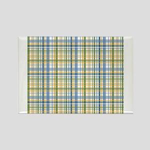 Blue Green Yellow Plaid Print Rectangle Magnet