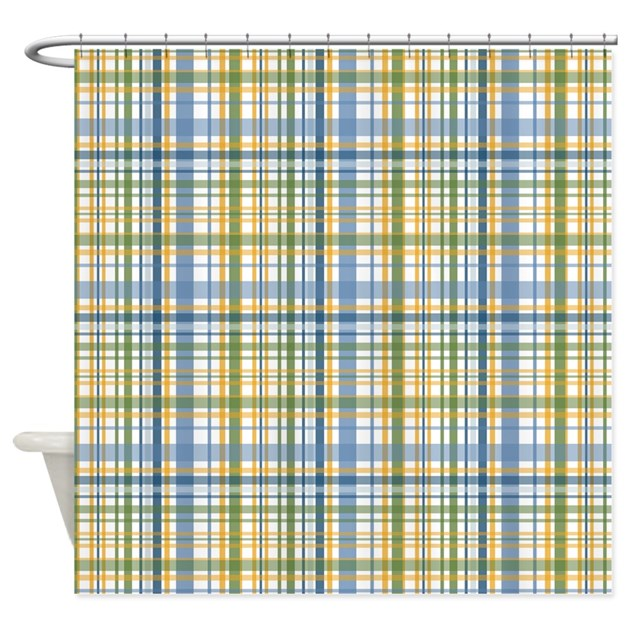 Blue Green Yellow Plaid Print Shower Curtain By PrintedLittleTreasures