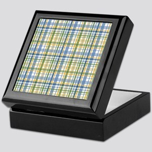 Blue Green Yellow Plaid Print Keepsake Box