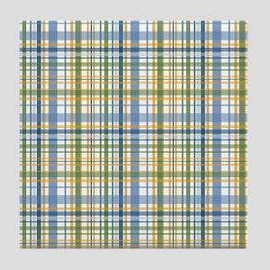 Blue Green Yellow Plaid Print Tile Coaster