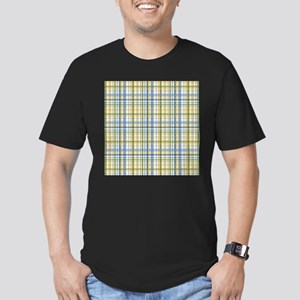 Blue Green Yellow Plaid Print Men's Fitted T-Shirt