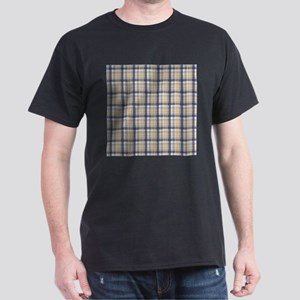 Grey Yellow Plaid Print Dark T-Shirt