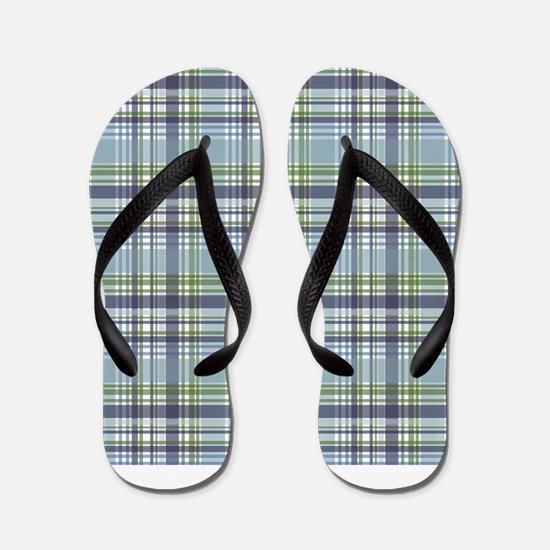 Blue Green Plaid Print Flip Flops