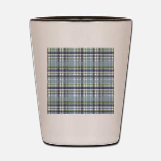 Blue Green Plaid Print Shot Glass