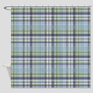Blue Green Plaid Print Shower Curtain
