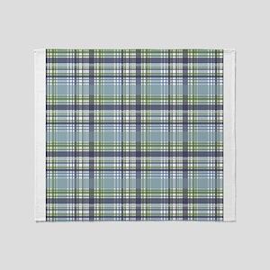 Blue Green Plaid Print Throw Blanket