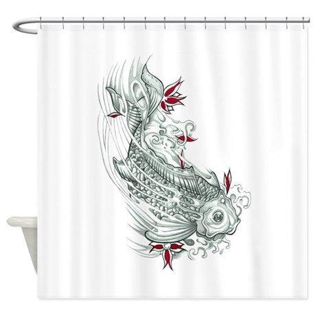 Koi fish shower curtain by triptic for Koi fish bathroom decorations
