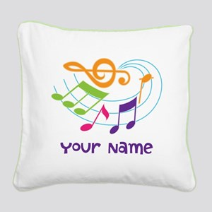 Personalized Music Swirl Square Canvas Pillow