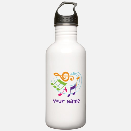 Personalized Music Swirl Water Bottle