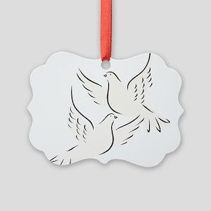 White Doves Picture Ornament