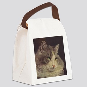 Green Eyed Cat Canvas Lunch Bag