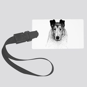 Smooth Collie Head Large Luggage Tag