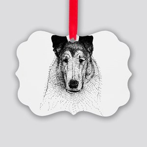 Smooth Collie Head Picture Ornament
