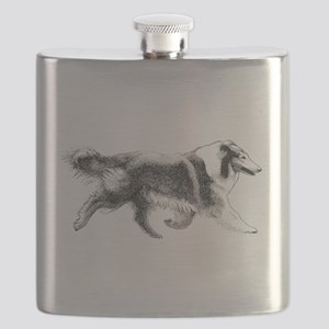 Rough Running Collie Flask