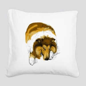 Chase, Asleep Square Canvas Pillow