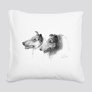 Rough and Smooth Collie Square Canvas Pillow
