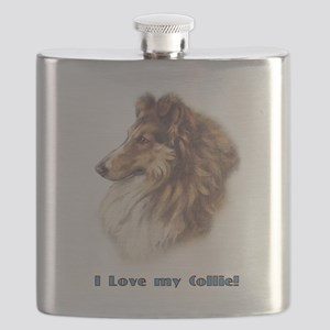 I Love my Collie Flask