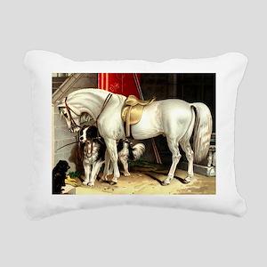 Vintage White Horse Rectangular Canvas Pillow