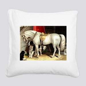 Vintage White Horse Square Canvas Pillow