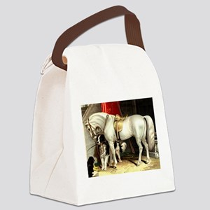 Vintage White Horse Canvas Lunch Bag