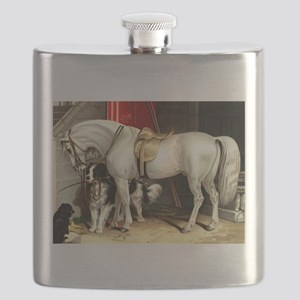 Vintage White Horse Flask