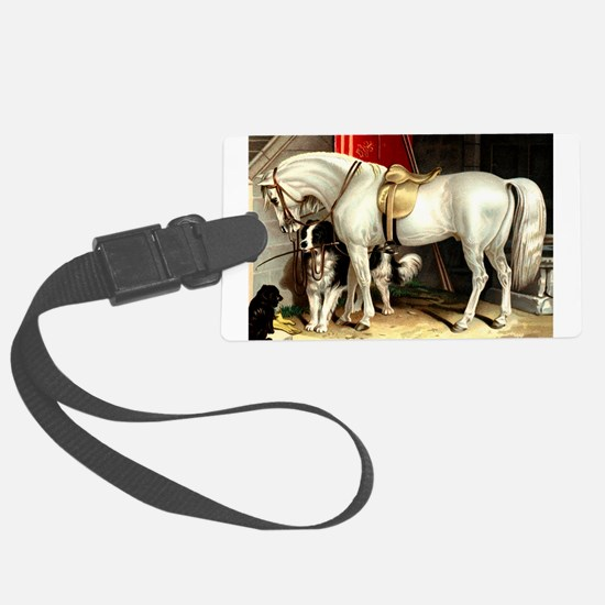 Vintage White Horse Luggage Tag