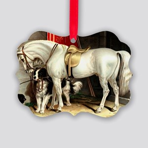 Vintage White Horse Picture Ornament