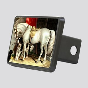 Vintage White Horse Rectangular Hitch Cover