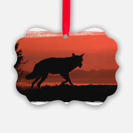 Coyote Silhouetted in Red Ornament