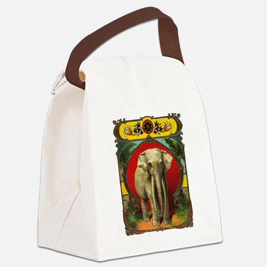 White Elephant Canvas Lunch Bag