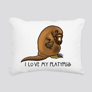 I Love my Platypus Rectangular Canvas Pillow
