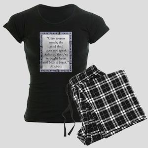 Give Sorrow Words Women's Dark Pajamas