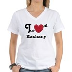 Personalized Couples Heart Women's V-Neck T-Shirt