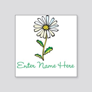 "Personalized Daisy Square Sticker 3"" x 3"""