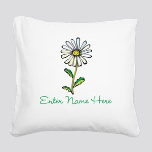 Personalized Daisy Square Canvas Pillow