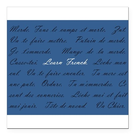 """Learn French Square Car Magnet 3"""" x 3"""""""
